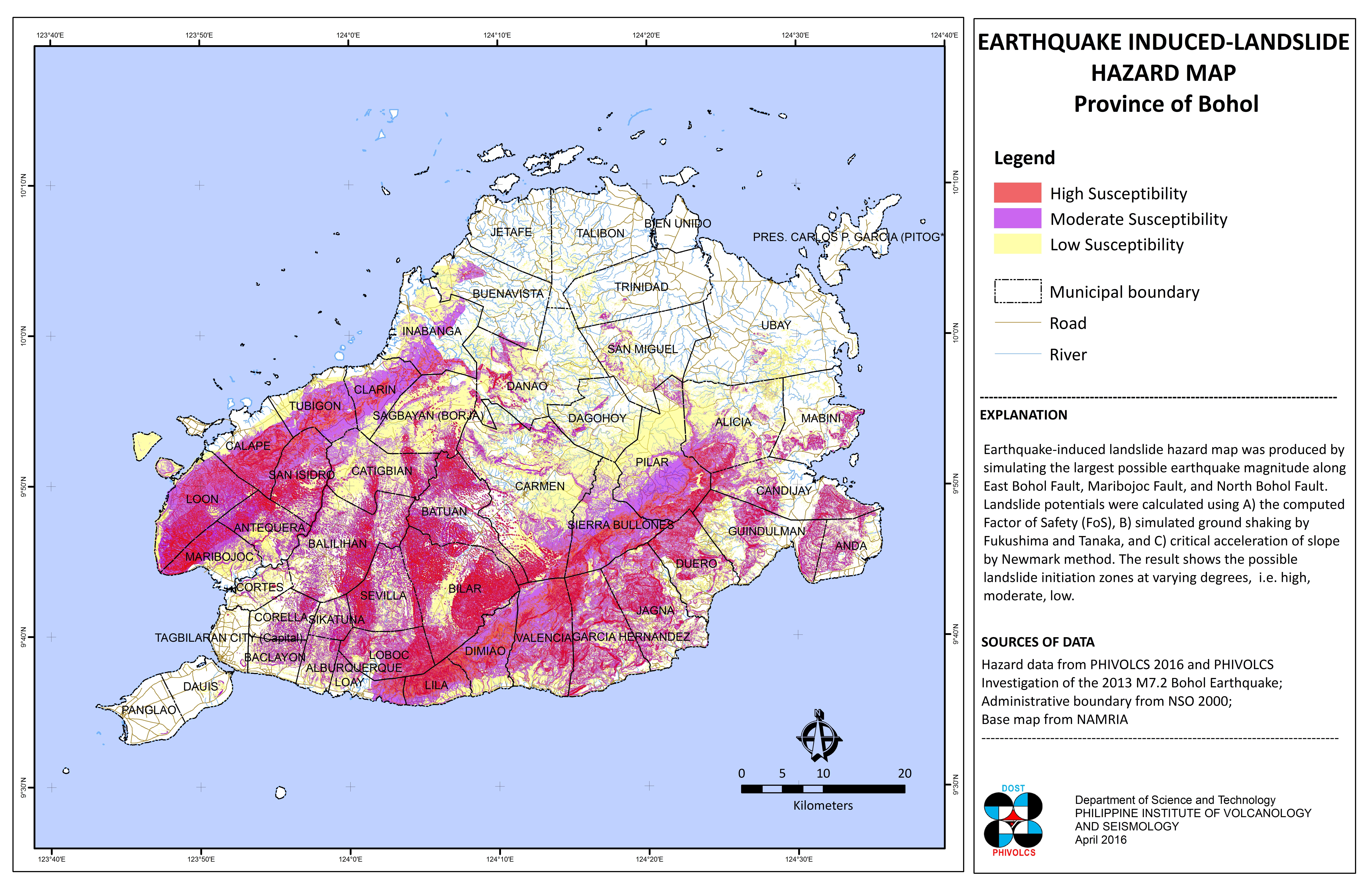 Bohol Earthquake-Induced Landslide Hazard Map, 2016 update