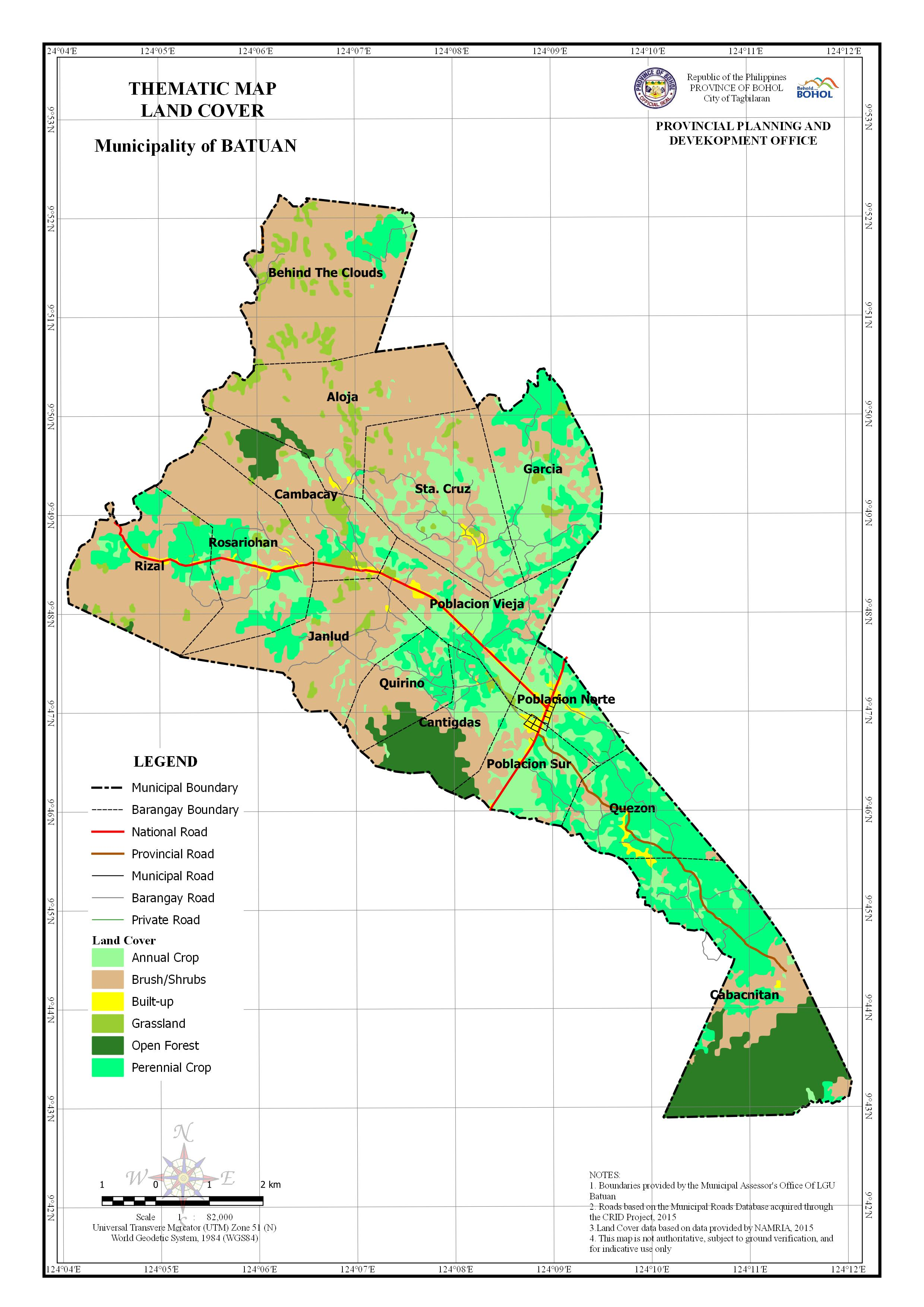 Land Cover Map of the Municipality of Batuan