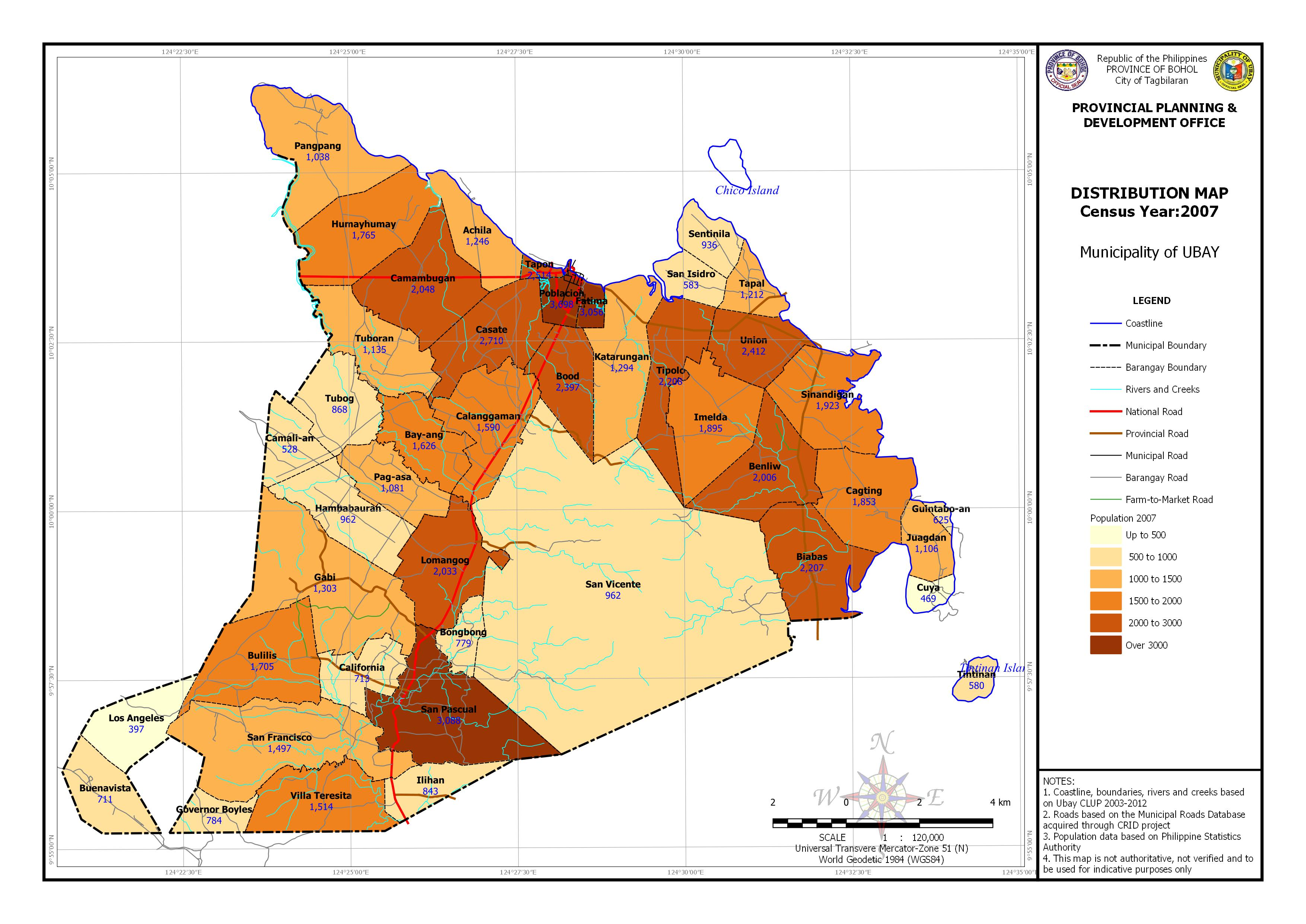 Population Distribution Census Year: 2007 Map